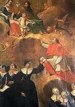 Pierwsze Siostry Boromeuszki razem z patronami - Świętą Rodziną i św. Karolem Boromeuszem