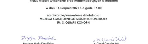 Otwarcie Muzeum klasztornego im. S. Olimpii Konopki